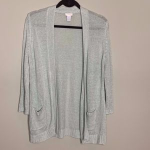 Chicos l Mint Metallic Open Knit Cardigan
